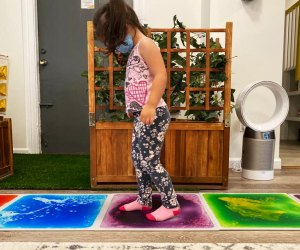 House of Playful Soul Girl Doing a sensory color walk Queens Play spaces