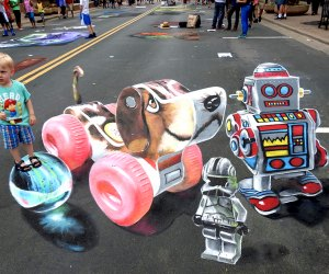 Chalk Howard Street features internationally-renowned 3D street artists and local 2D chalk artists, as well as amateur artists and kids' art.  Photo courtesy of Howard Street