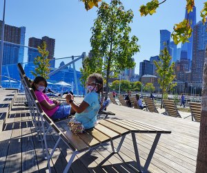 Hudson River Park's Pier 26 offers plenty of room to lounge and enjoy panoramic views spanning from the George Washington Bridge to the Statue of Liberty.
