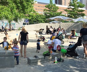 The Pier 25 sandbox is a big hit with the little ones. Photo by the author