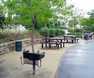 picnic tables and a bbq
