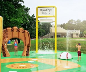 Hyland Park Splash Pad has a clever baseball theme. Photo courtesy of MRC Recreation