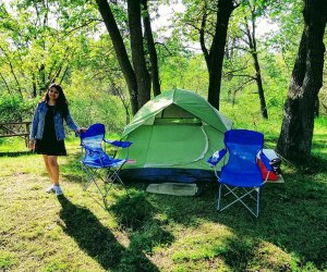 Camping at Illinois State Beach Park. Photo courtesy of Illinois State Beach Park.