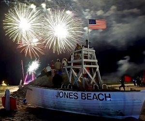 Jones Beach shore illuminated by fireworks