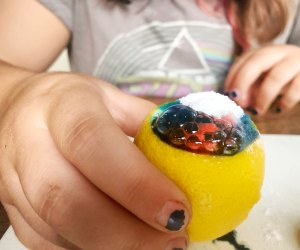A bubbling lemon is an easy and colorful science fair project for all ages.