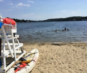 Lake Hopatcong in NJ has reopened for swimming with new social distancing rules in place. Photo by Mommy Poppins