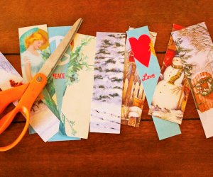 Upcycle holiday cards into giftable bookmarks.