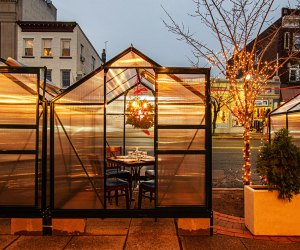 Dine on a scrumptious Greek dinner in a heated plexiglass tent at It's Greek to Me in Ridgewood.