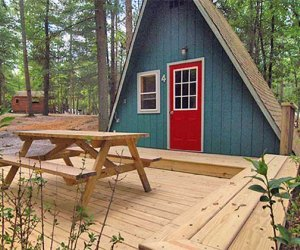 a cabin at Adventure Bound Campgrounds at Tall Pines.