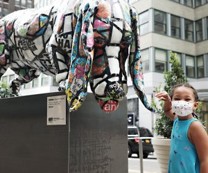 Stake out on a public art walk and see if you can spot Will Kurtz's Doggy Bags in the Garment District.