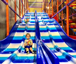 Playing at indoor play space Kanga's in Cypress