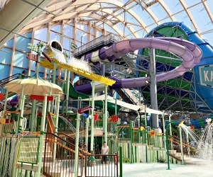 The indoor water offers thrill slides, dumping buckets, and toddler splash pads.