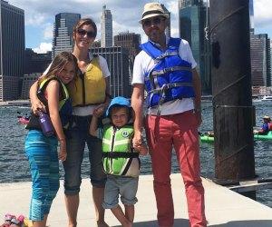 Family of kayakers at Brooklyn Brigdge Park