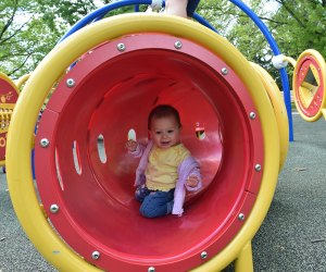 Toddlers love crawling through the tunnels at Colonial Park's playground in Somerset, NJ.