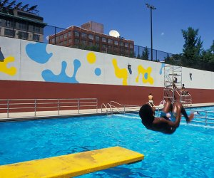 Keith Haring mural above the pool at Tony Dapolito Recreation Center