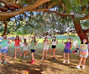 All the world is a stage, so why not rehearse outside? Photo courtesy of Kids on Stage