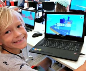 Kids4Coding camper creating a 3D game using KODU Game Lab at Microsoft New England in Cambridge. Photo courtesy of Kids4Coding