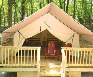 a luxury tent at Kymer's Camping Resort.