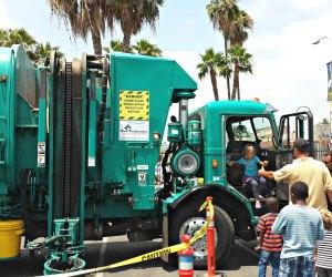 Kids get trucking on Earth Day.  Photo courtesy of LA Sanitation
