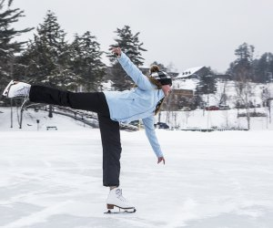 ice skating on Mirror Lake girl ice skating on mirror lake Things to Do in Lake Placid on a Winter Vacation Status message