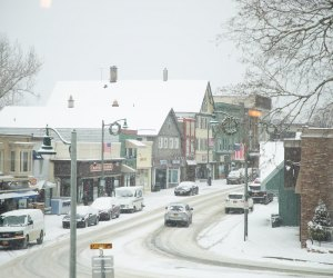 Lake Placid snowy Main Street Things to Do in Lake Placid on a Winter Vacation Status message