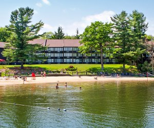 Lake Harmony, a gorgeous lake in the Poconos, is accessible from Split Rock Resort and other private rentals.