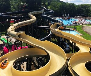 Water slides at Pirate's Cove water park