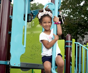 The new climbing structures at Ennis Playground in Gowanus, Brooklyn are a fun challenge for a wide range of ages.