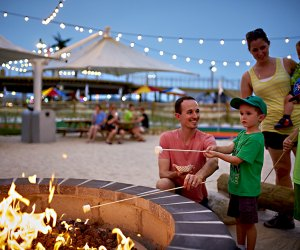 Cap off your beach day with s'mores by the firepit at the Starlux Boutique Hotel in Wildwood.