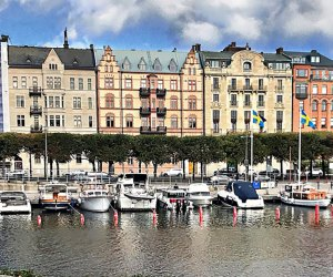 Stroll along the canal in Stockholm's Norrmalm neighborhood.