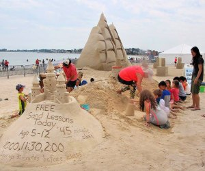Learn some sandcastle tips at the Revere Beach Sand Sculpting Festival. Photo courtesy of City of Revere