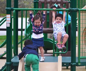 The more toddlers the merrier at Bethpage State Park Playground.