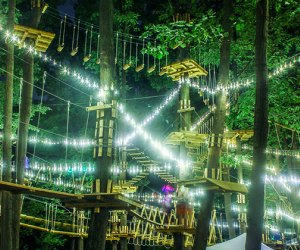 The Adventure Park at Long Island's course is lit for a glowing nighttime climb