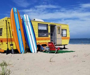 High-end campers from Long Island Glampers can take you to the outer beach in style. Photo courtesy of Long Island Glampers