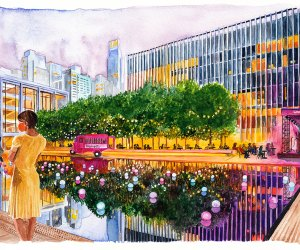 Lincoln Center's Restart Stages looks to revitalize NYC's performing arts with outdoor performance and rehearsal venues.  Illustration by Ceylan A. Sahin Eker