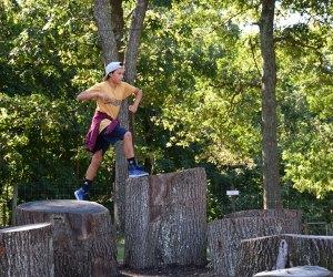 Jump across stump steps.