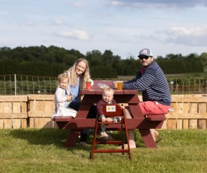 Have a relaxed meal at a picnic table in the field, and then burn off some energy walking around the orchard at Lookout Farm.