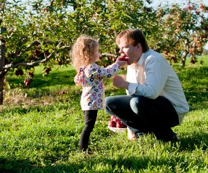 Preschoolers love to pick their own (and parents'!) apples. Photo by Kim Tyler Photography courtesy of Lyman Orchards
