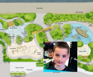 Fun features like a rope climber, a play ship, and a splash pad were planned with Martin in mind. Photos courtesy of Michael Van Valkenburg Associates via City of Boston/Martin Richard Foundation