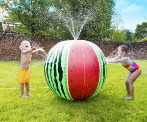 Cool off in the Mega Melon Sprinkler Ball this summer! Photo courtesy the manufacturer