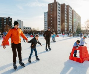 Steven & Alexandra Cohen Skating Center at Mill River Park is open this year. Photo courtesy of Mill River Park Collaborative