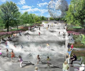 The long-awaited Fountain of the Fairs is now complete in Flushing Meadows Corona Park. Rendering courtesy of Quennell Rothschild & Partners for NYC Parks