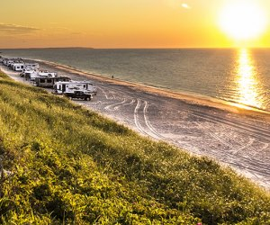 Montauk County Park campground at sunset
