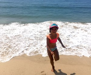 Girl playing in the surf at Montauk's Kirk Beach Park