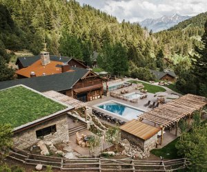 Relax by the pool after a day of riding at the Mountain Sky resort in Montana.