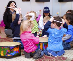 Kids feel the beat at a Musical Munchkins music class.