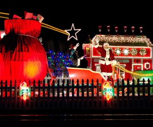 It's Santa! The Polar Express pulls up to the North Pole.