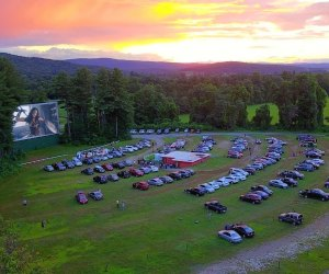 The Northfield Drive-In is in a bucolic setting in New Hampshire; and there's a playground, too. Photo courtesy of Northfields Drive-In