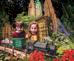 Marvel at model trains zipping through an enchanting display of more than 175 famous New York landmarks at the Holiday Train Show at the New York Botanical Gardens.  Photo courtesy of NYBG