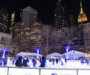 Skate admission free at Bryant Park's Bank of America Winter Village, which reopens its rink—and more attractions—Friday, October 29, 2021. Photo by author